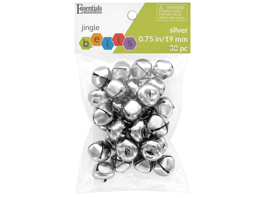 Essentials By Leisure Arts Bell Jingle 19 mm Silver 30 pc