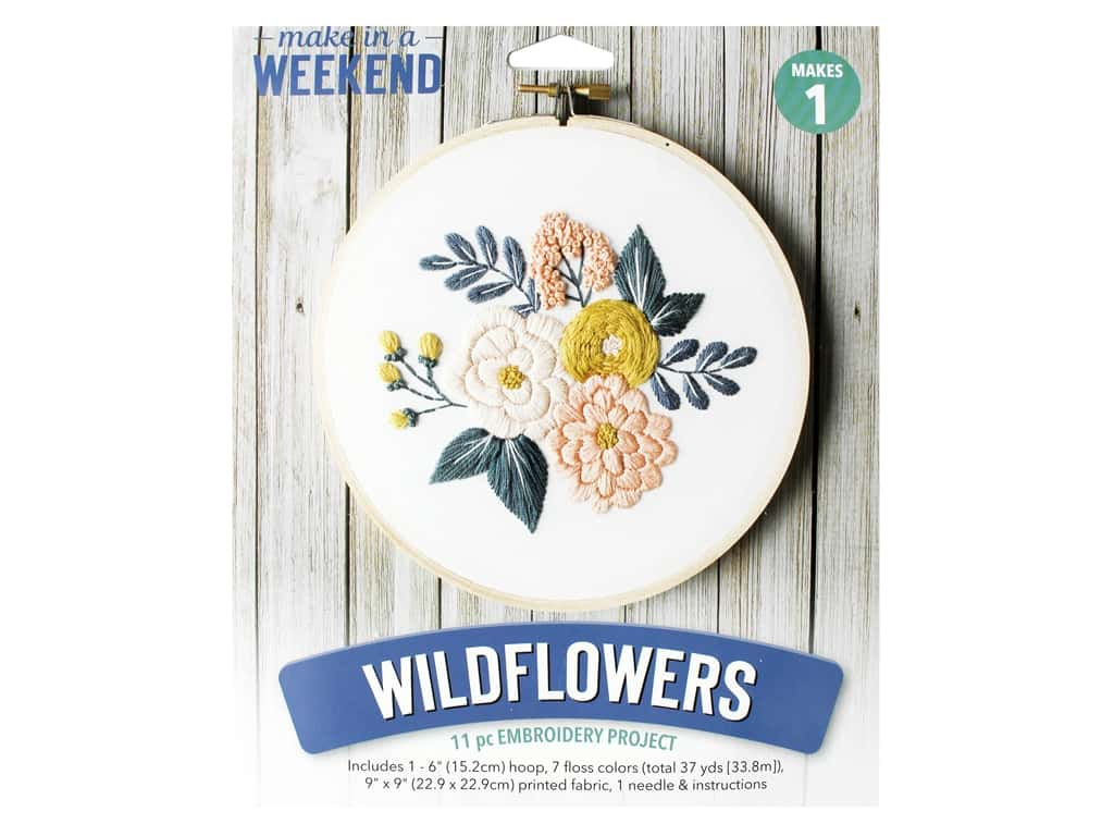 Leisure Arts Make In A Weekend Embroidery Kit - Wildflowers