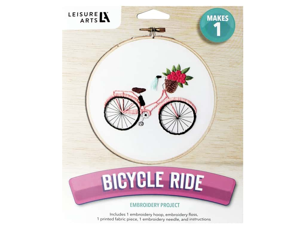 Leisure Arts Mini Maker Embroidery Kit - Bicycle Ride