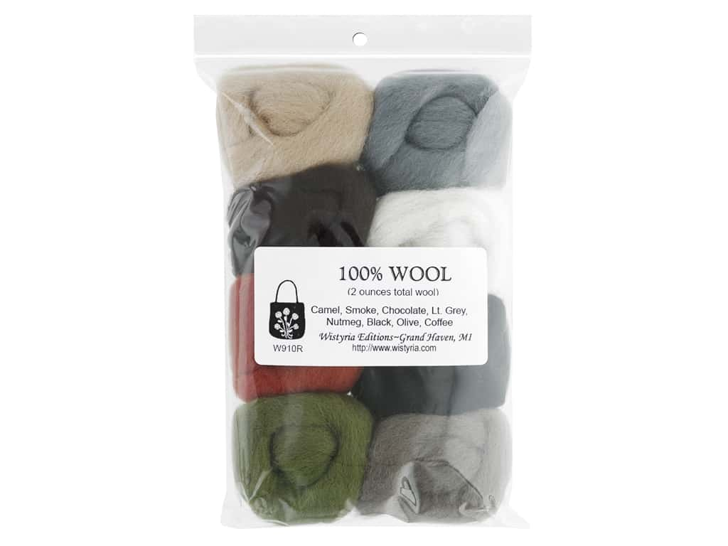 Wistyria Editions 100% Wool Roving 8 pc Rustic