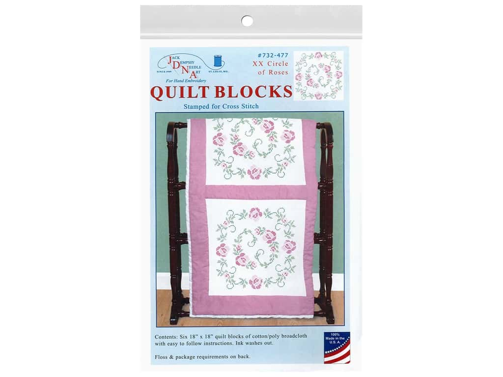 Jack Dempsey 18 in. Quilt Blocks - XX Circle Of Roses