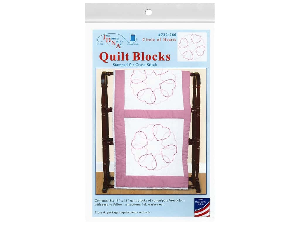 Jack Dempsey 18 in. Quilt Blocks - Circle of Hearts