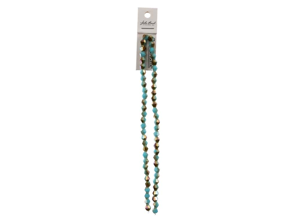 John Bead Crystal Lane Glass 6 mm Bicone Opaque Blue Champagne Luster 7 in.