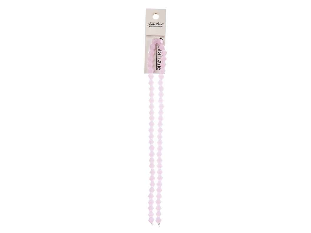 John Bead Crystal Lane Glass 6 mm Bicone Opaque Pink 7 in.
