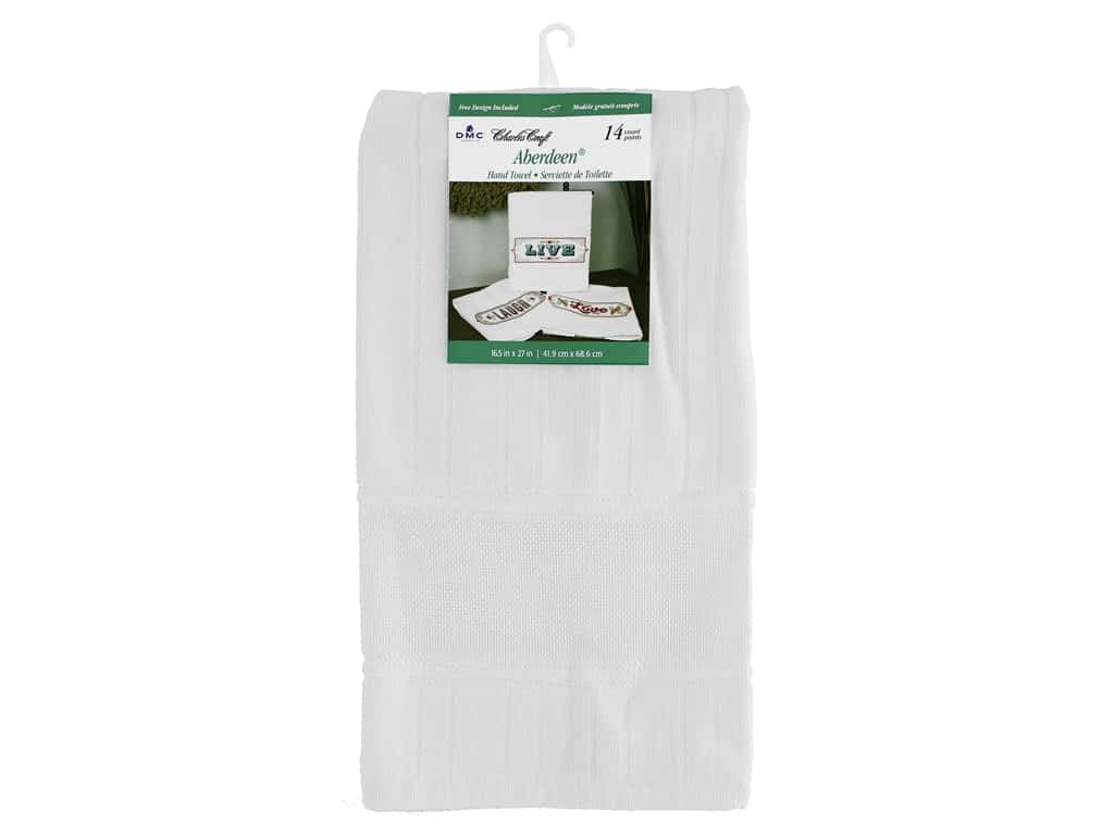 Charles Craft Towel Aberdeen Hand 14 ct 16.5 in. x 27 in. White
