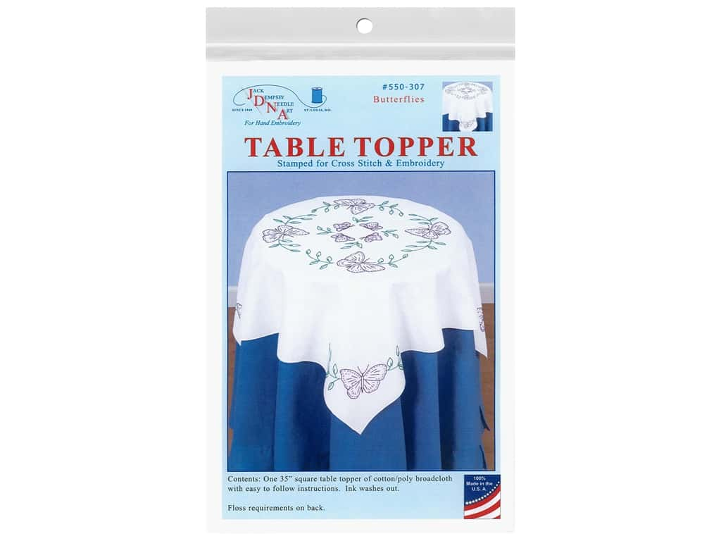 Jack Dempsey Table Topper White 35 in. Butterflies