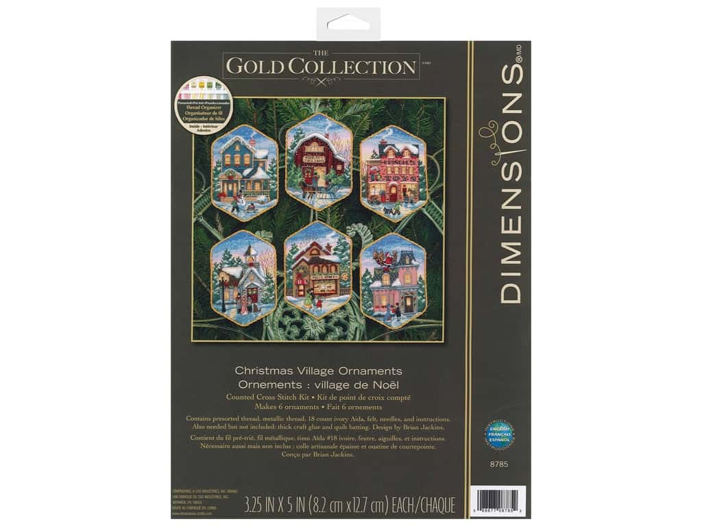 Dimensions Cross Stitch Kit 3 1/4 in. x 5 in. Christmas Village Ornaments 6 pc