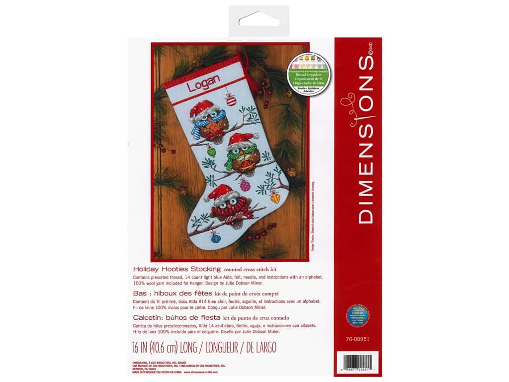Dimensions Cross Stitch Kit 16 in. Stocking Holiday Hooties