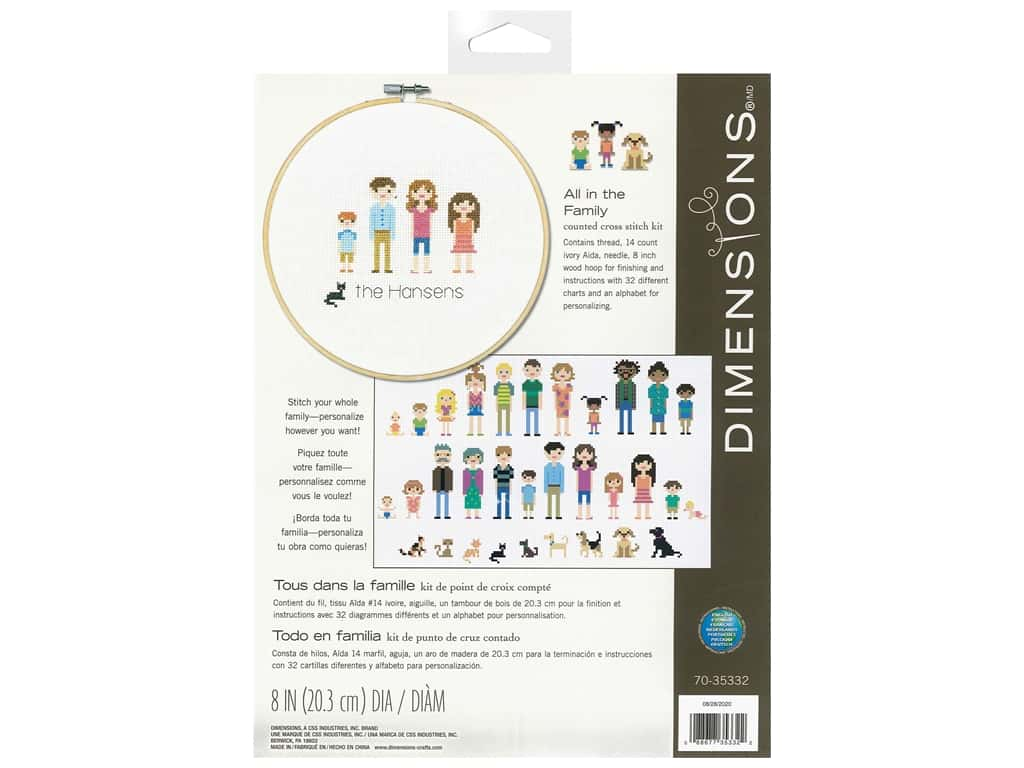 Dimensions Cross Stitch Kit 8 in. All In The Family