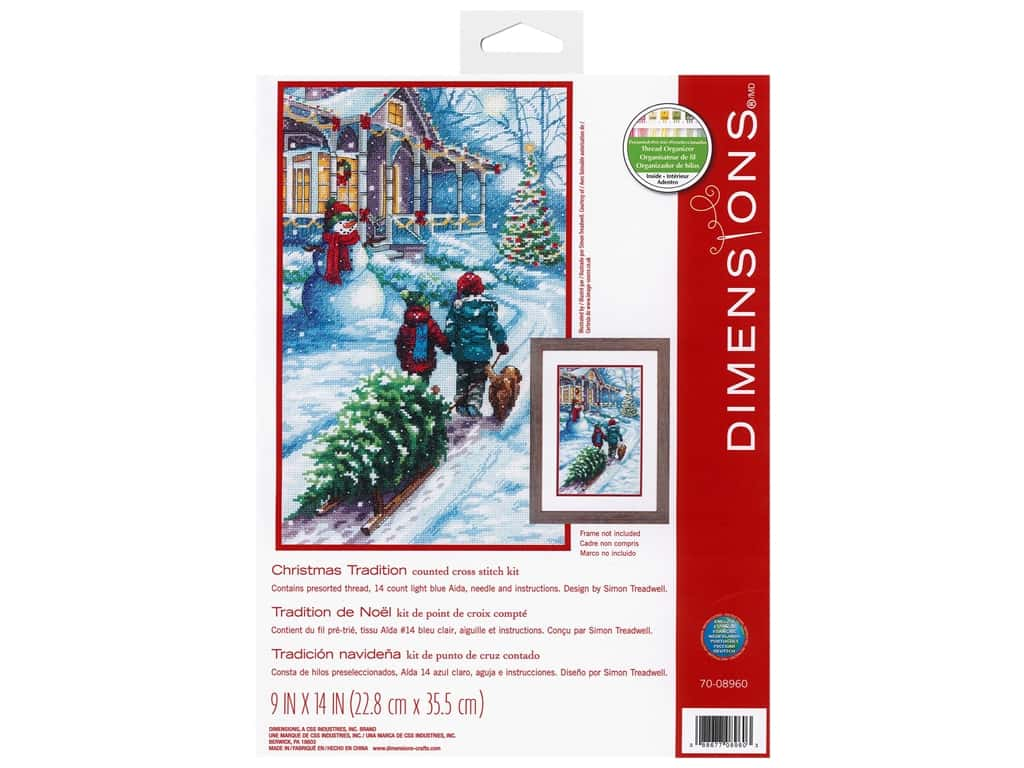 Dimensions Cross Stitch Kit 9 in. x 14 in. Christmas Tradition