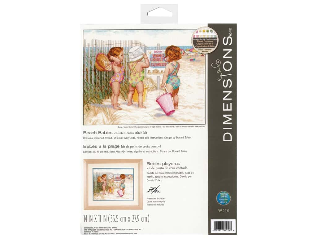 Dimensions Counted Cross Stitch Kit 14 x 11 in. Beach Babies