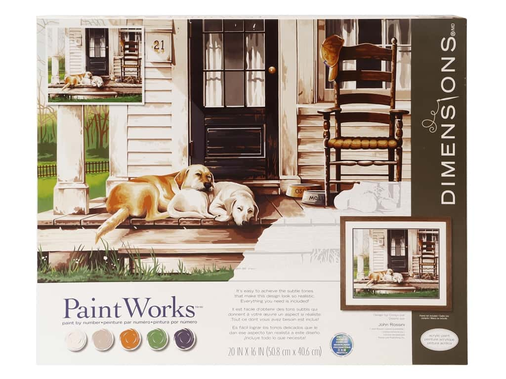 Paint Works Paint By Number Kit 20 in. x 16 in. Lazy Dog Day