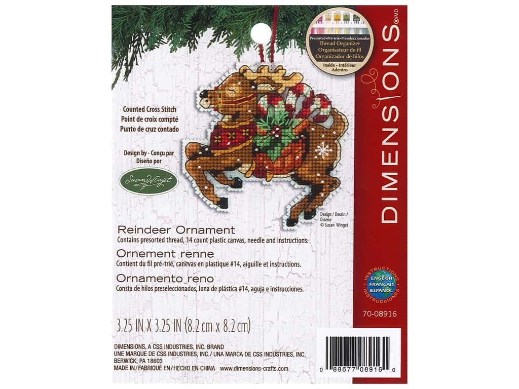 Dimensions Cross Stitch Kit 3 1/4 in. x 4 1/4 in. Susan Winget Ornament Reindeer