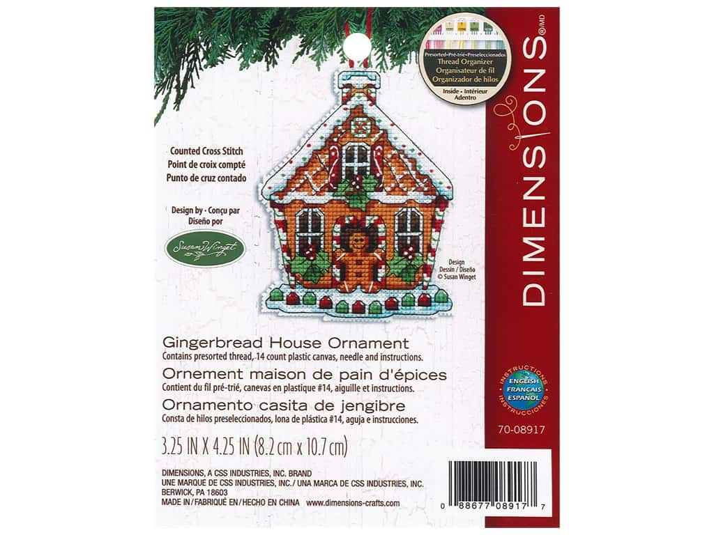 Dimensions Cross Stitch Kit 3 1/4 in. x 4 1/4 in. Susan Winget Ornament Gingerbread House