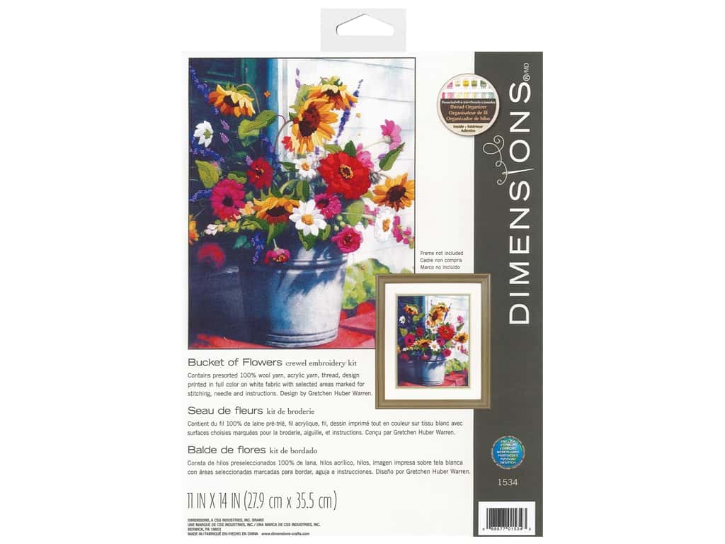 Dimensions Crewel Embroidery Kit 11 in. x 14 in. Bucket Flowers Gallery