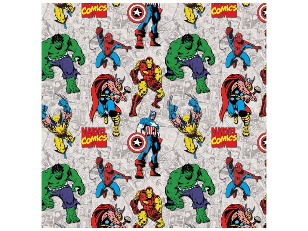 Marvel Comics 44 in. Cotton Fabric - Marvel Characters 8 yd.