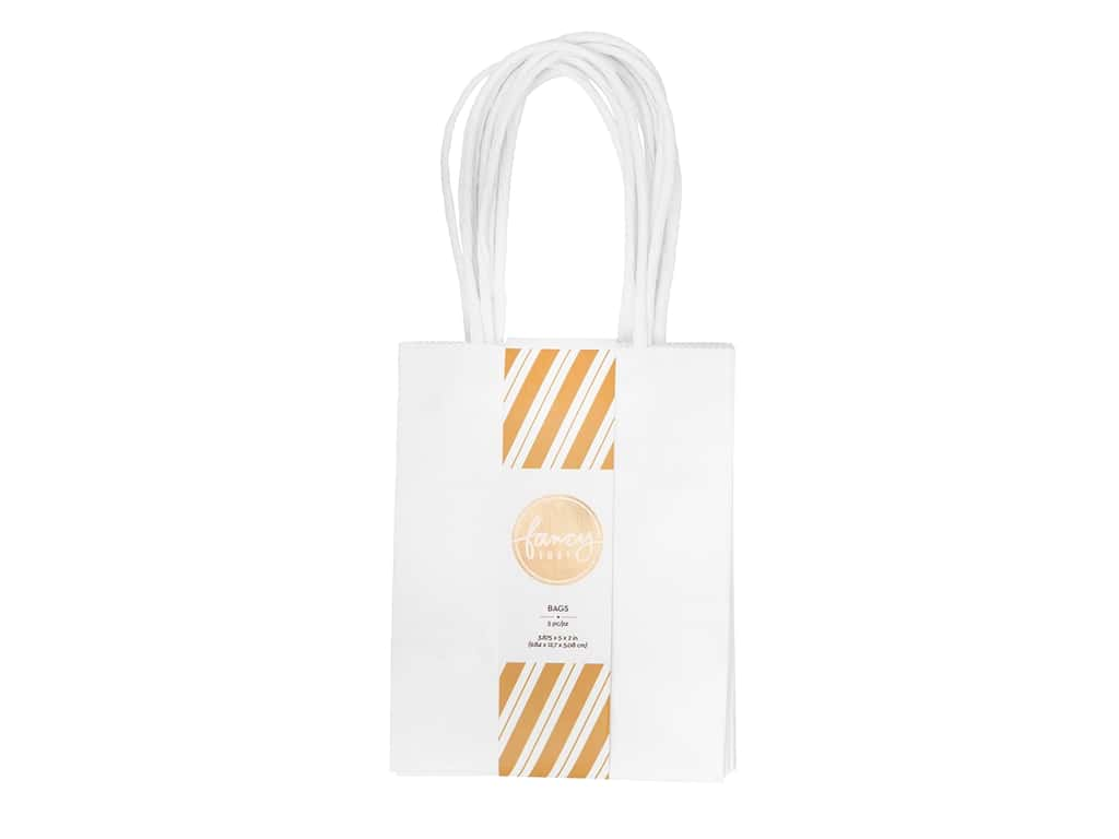 American Crafts Collection Fancy That Gift Bags Mini 3.875 in. x 5 in. x 2 in. White 5 pc