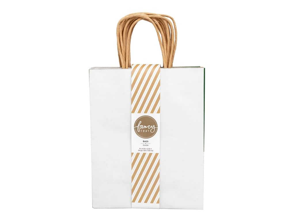 American Crafts Collection Fancy That Gift Bag Medium 8 in. x 10.25 in. x 4.25 in. Holiday 13 pc