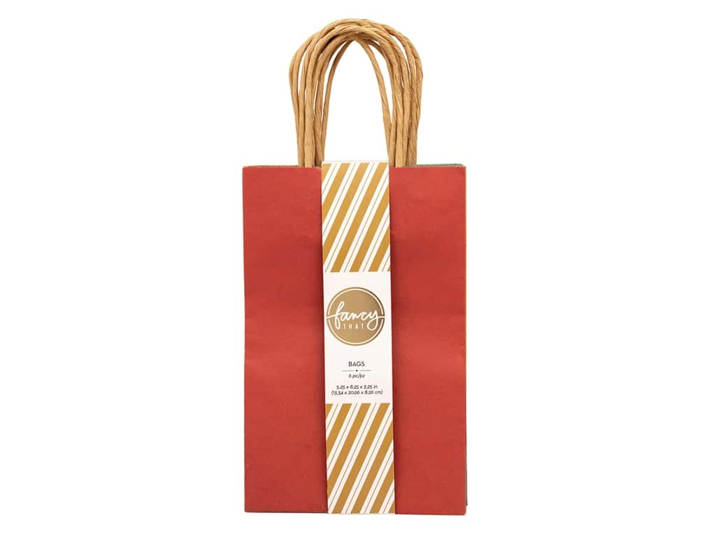 American Crafts Collection Fancy That Gift Bags Small 5.25 in. x 8.25 in. x 3.25 in. Brights Assorted 6 pc