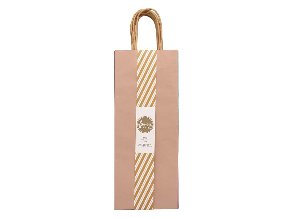 American Crafts Collection Fancy That Gift Bags Wine 5.25 in. x 13.25 in. x 3.25 in. Pastels Assorted 6 pc