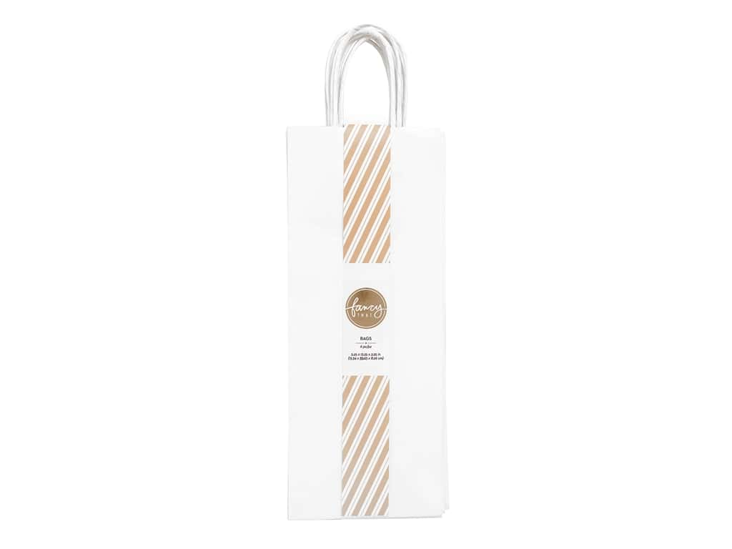 American Crafts Collection Fancy That Gift Bags Wine 5.25 in. x 13.25 in. x 3.25 in. White 6 pc