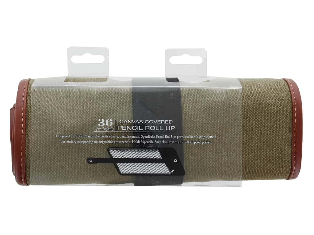 Speedball Travel Case Canvas Roll Up Olive Holds 36