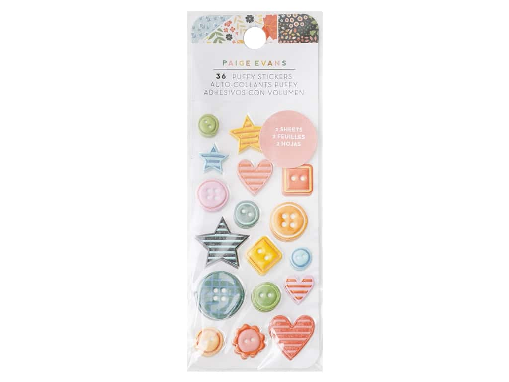 American Crafts Collection Paige Evans Bungalow Lane Sticker Puffy Embossed 2 pc