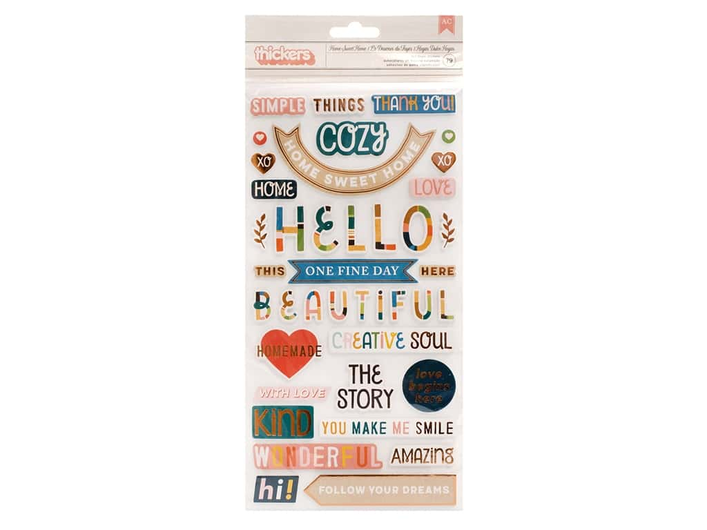 American Crafts Collection Paige Evans Bungalow Lane Thicker Sticker Phrase Copper Foil Home Sweet Home