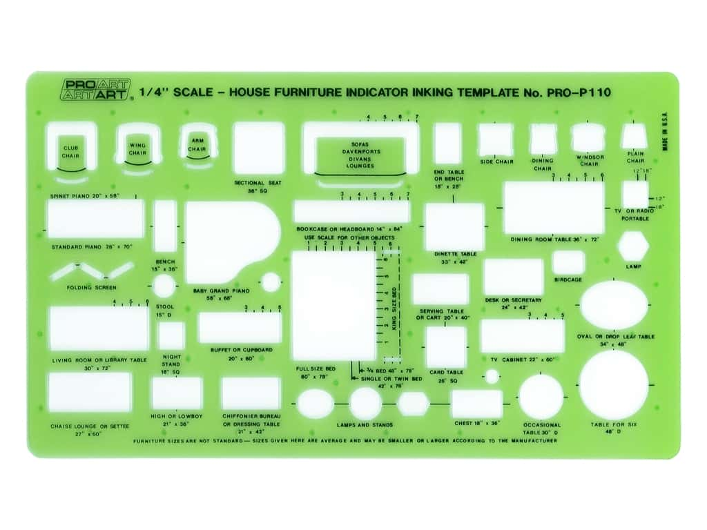 Pro Art Inking Template - House Furniture Indicator 1/4 in. Scale