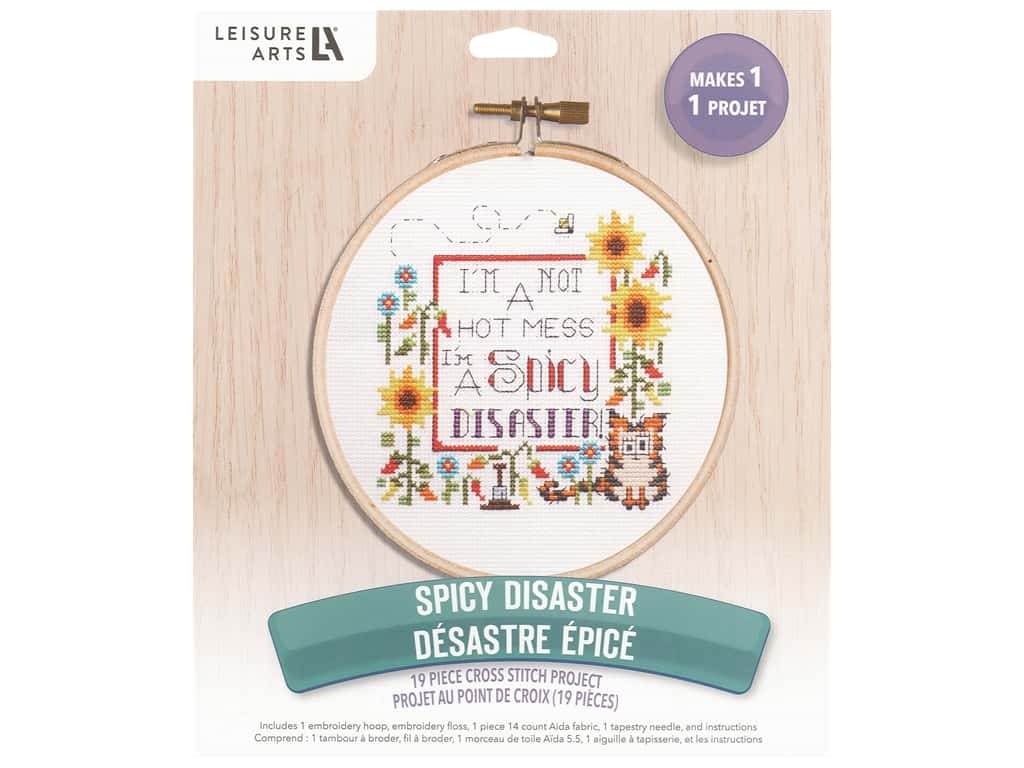 """Leisure Arts Kit Cross Stitch 7"""" Spicy Disaster"""