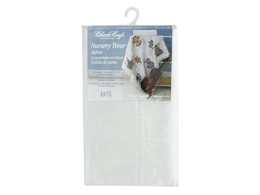 Charles Craft Nursery Time Afghan - 14 count - Antique White