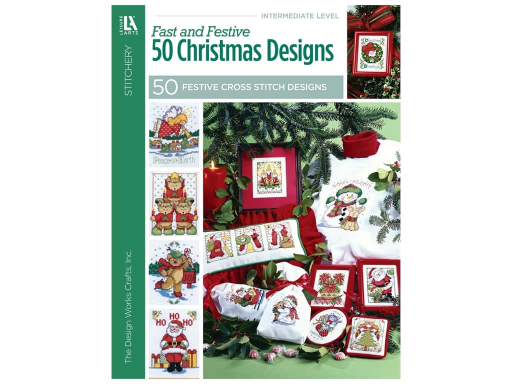 Leisure Arts Cross Stitch Fast And Festive 50 Christmas Designs Book