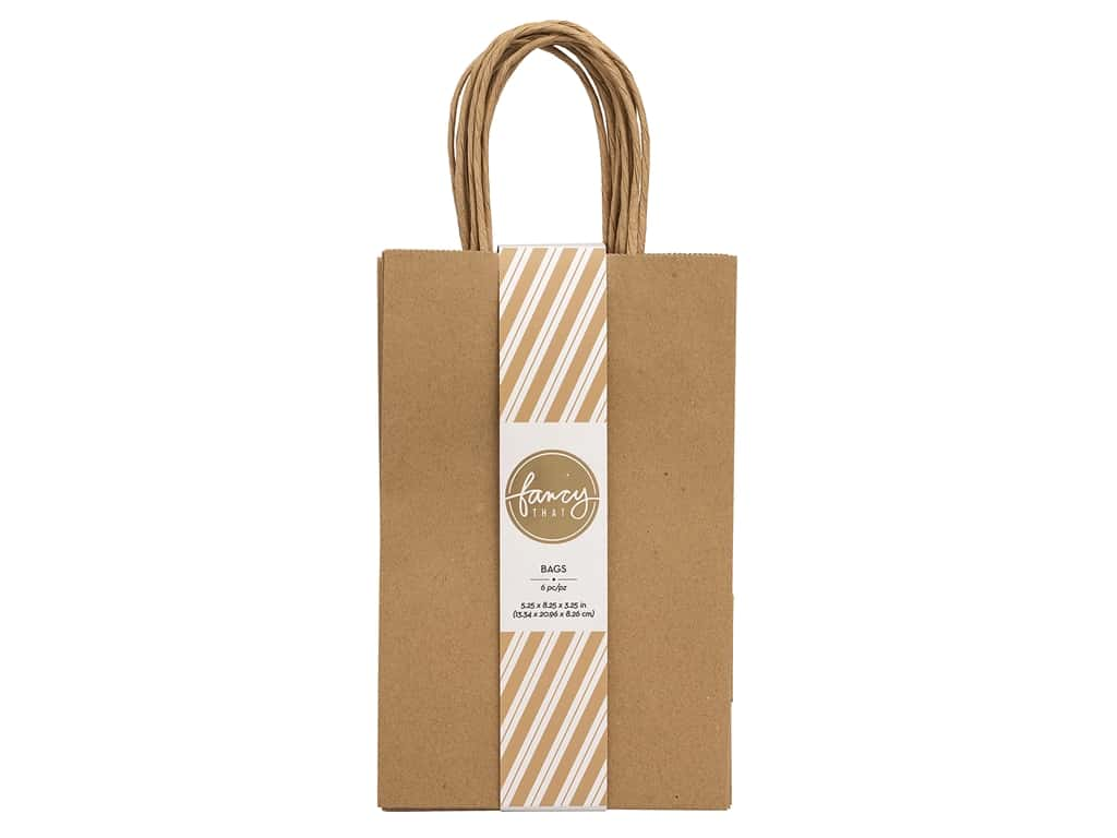 American Crafts Collection Fancy That Gift Bags Small 5.25 in. x 8.25 in. Kraft 6 pc