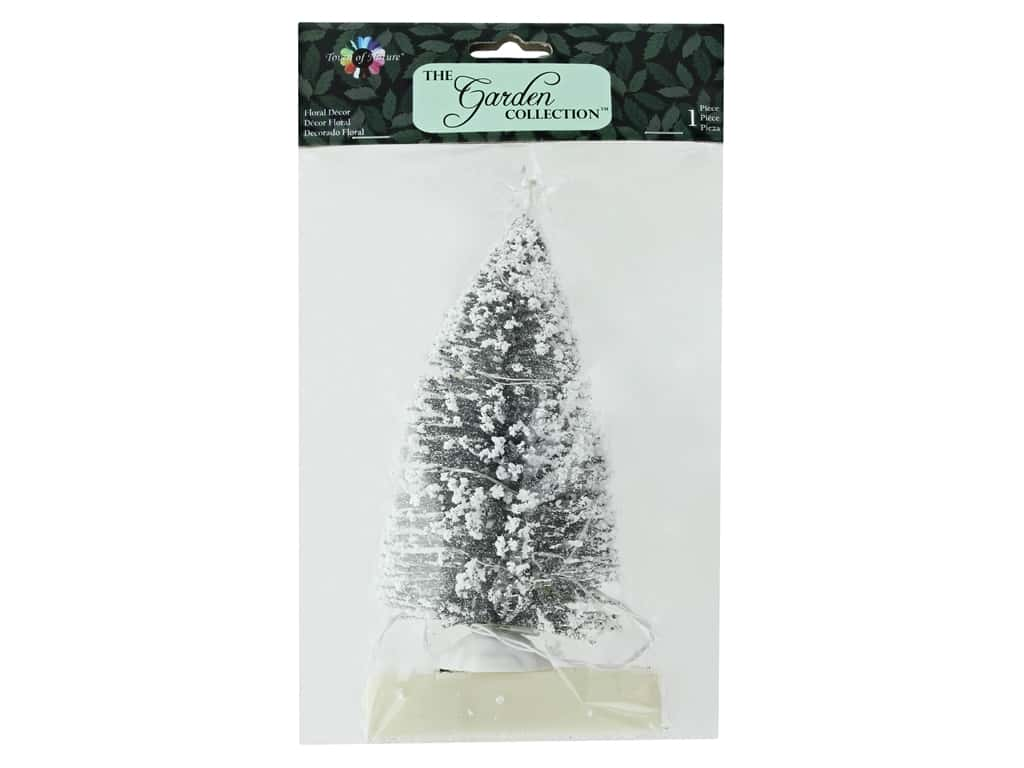 Midwest Design Garden Touch Of Nature 7 in. Bottle Brush Tree Silver Snow 1 pc