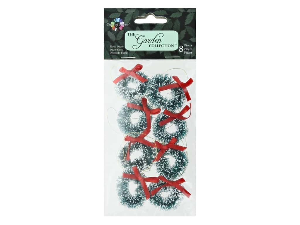 Midwest Design Garden Touch Of Nature 1 in. Miniature Wreath Red Ribbon Snow 8 pc