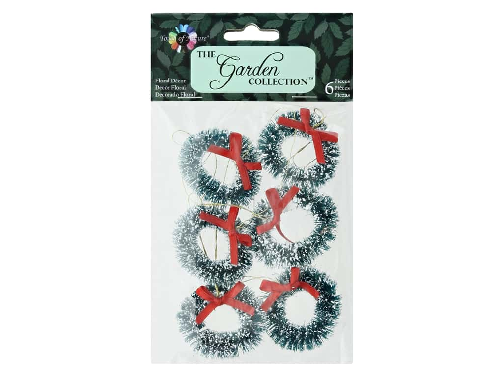 Midwest Design Garden Touch Of Nature Wreath 1.5 in. Red Ribbon Snow 6 pc
