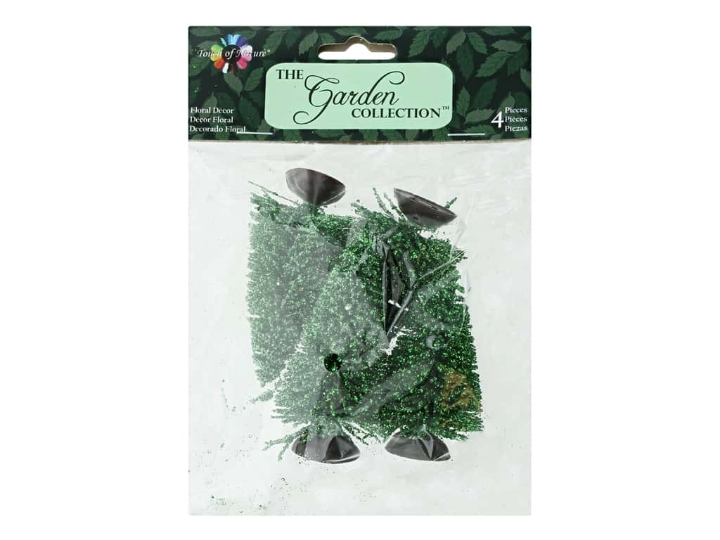 Midwest Design Garden Touch Of Nature 2.75 in. Pine Tree Glitter 4 pc