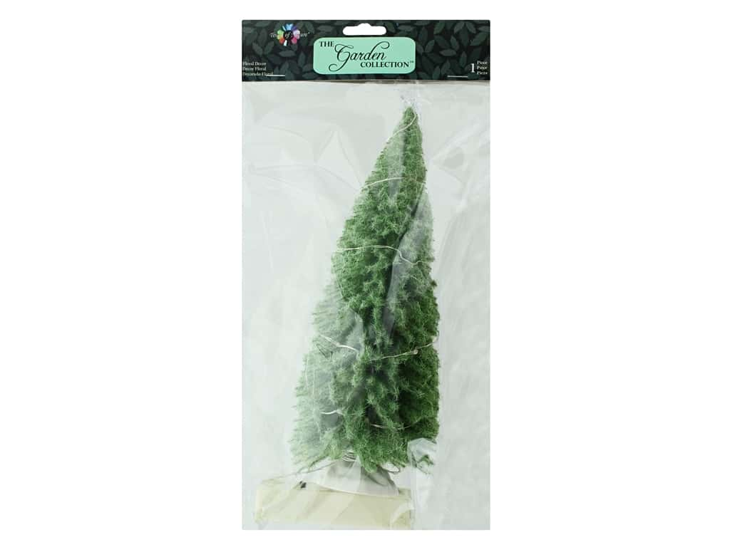 Midwest Design Garden Touch Of Nature 10 in. LED Green Fuzzy Bottle Brush Tree 1 pc