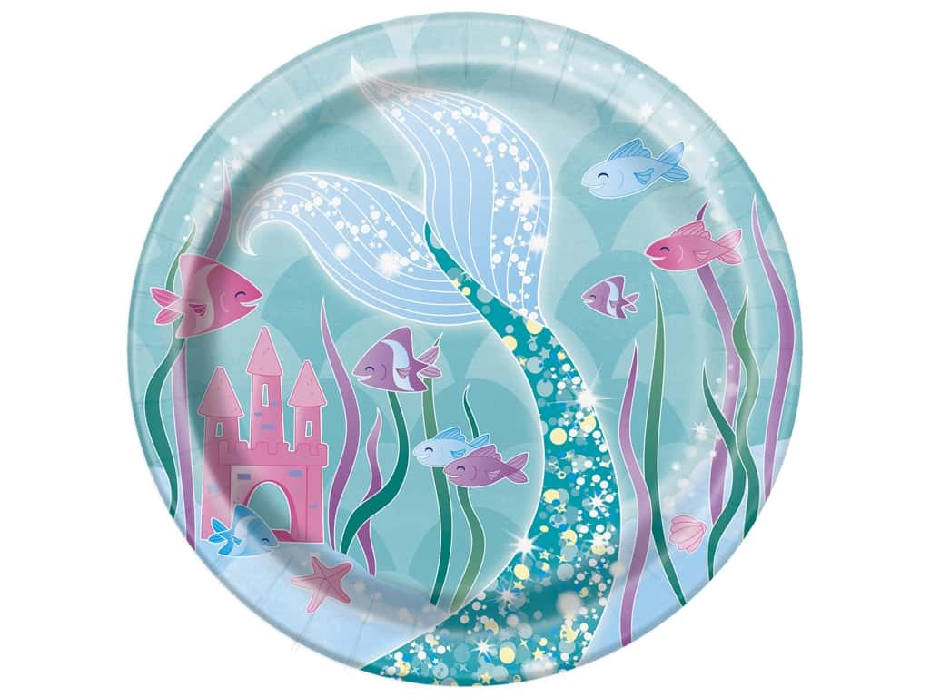 Unique Collection Mermaid 7 in. Plates 8 pc