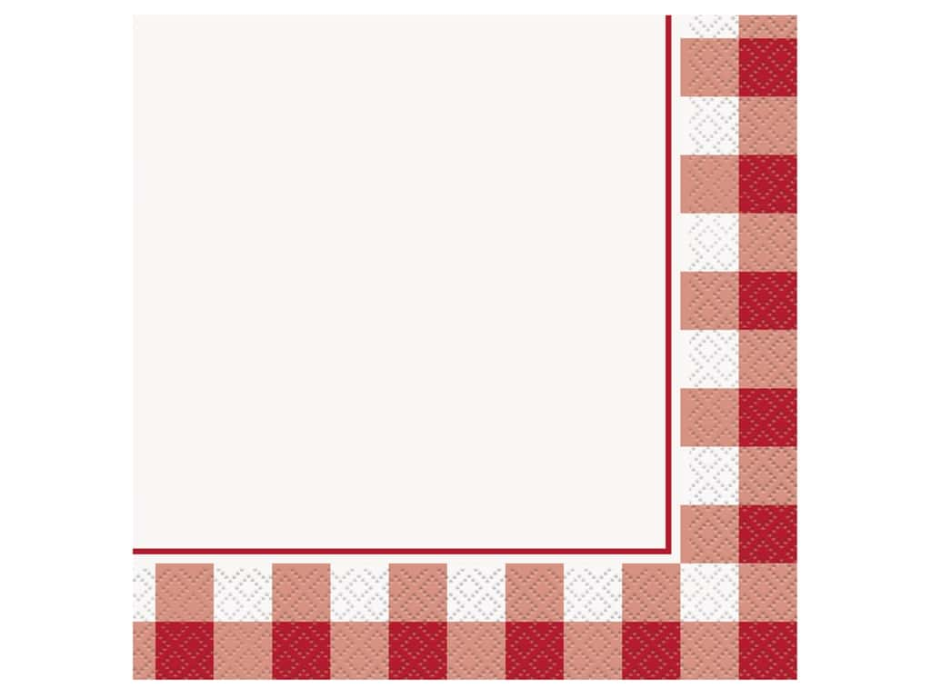 Unique Collection Gingham Luncheon Napkins Red 16 pc