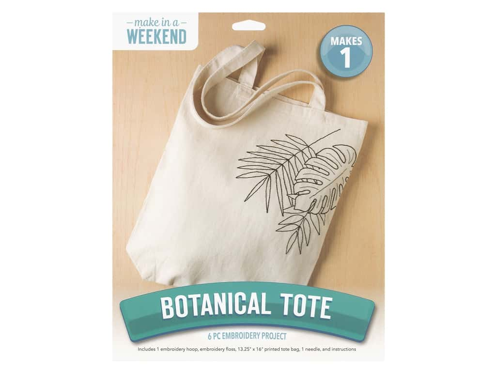 Leisure Arts Kit Embroidery 8 in. Botanical Tote