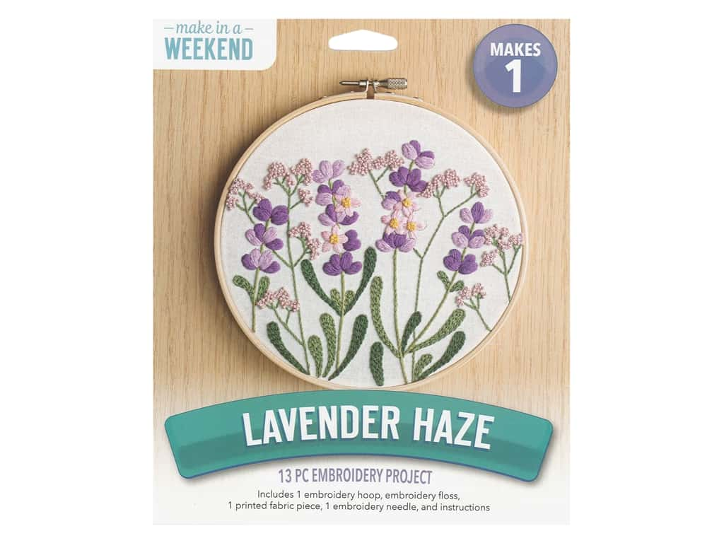 Leisure Arts Kit Embroidery 6 in. Lavender Haze