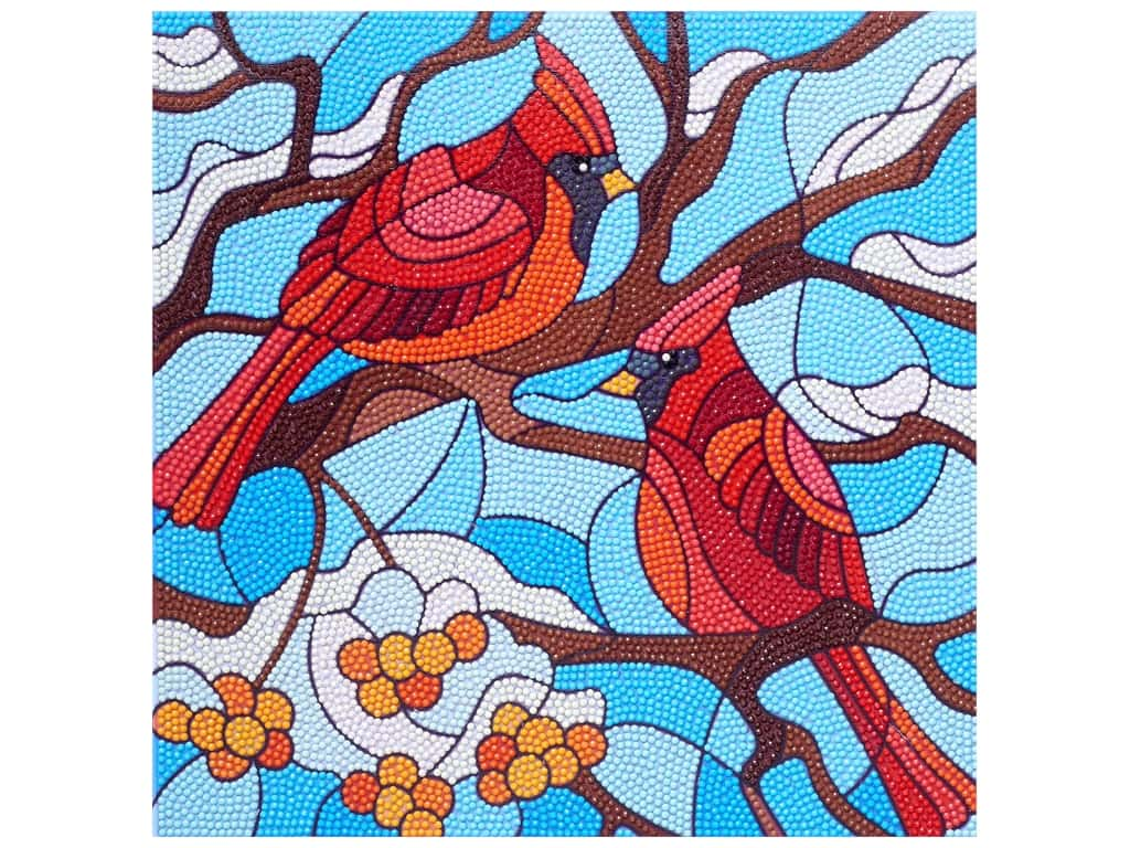 Diamond Art Kit 12 in. x 12 in.  Intermediate Stained Glass Cardinals
