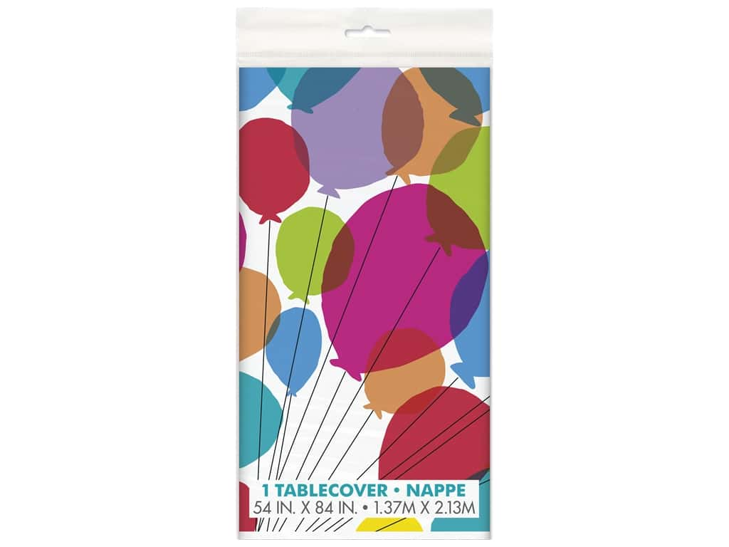 """Unique Collection Balloon & Rainbow Plastic Tablecover 54""""x 84"""""""