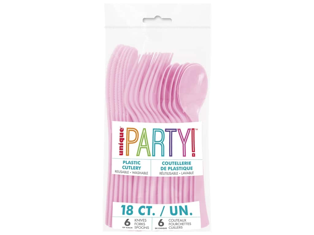 Unique Assorted Plastic Cutlery - Lovely Pink 18 pc.
