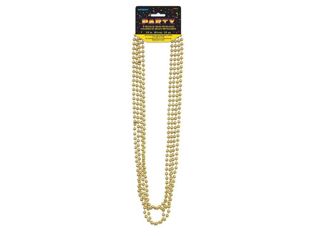 Unique Necklace Bead 32 in. Gold 4 pc