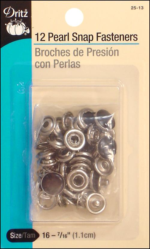 7//16-Inch 12-Count Size 16 Black Dritz 25-13 Pearl Snap Fasteners