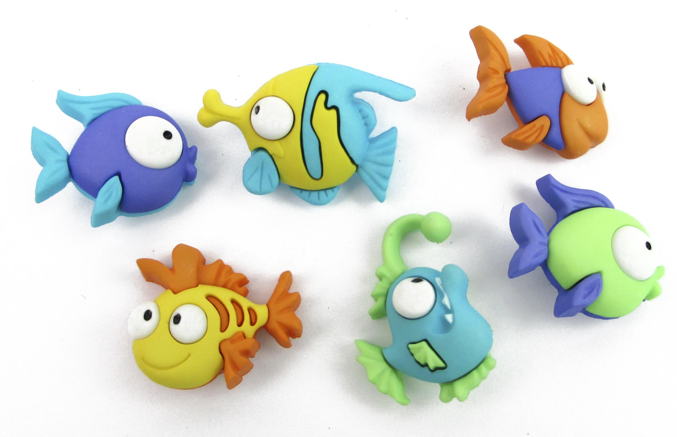Something Fishy// Comical Fish Shank Buttons Jesse James ~ Dress it Up # 6952