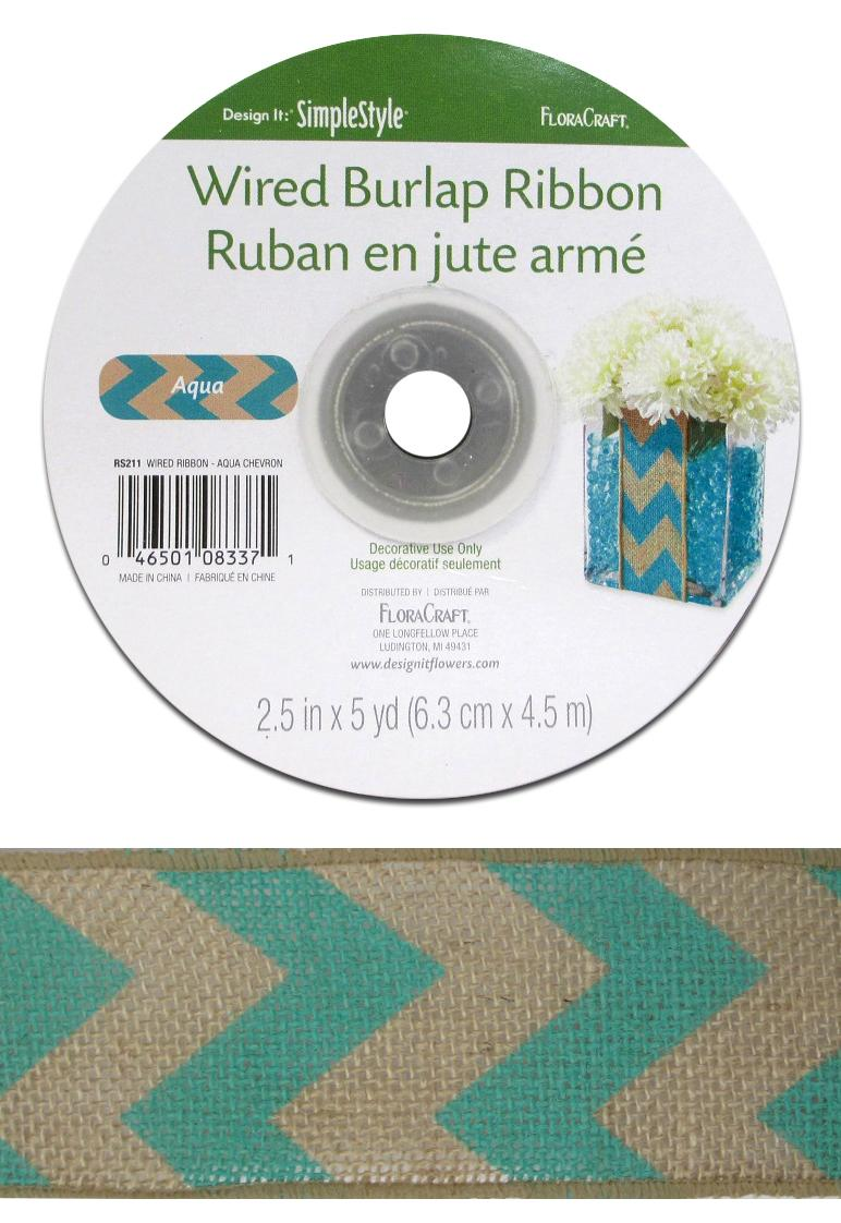 FloraCraft Burlap Ribbon 2 1/2 in. x 5 yd. Chevron Aqua -- CreateForLess