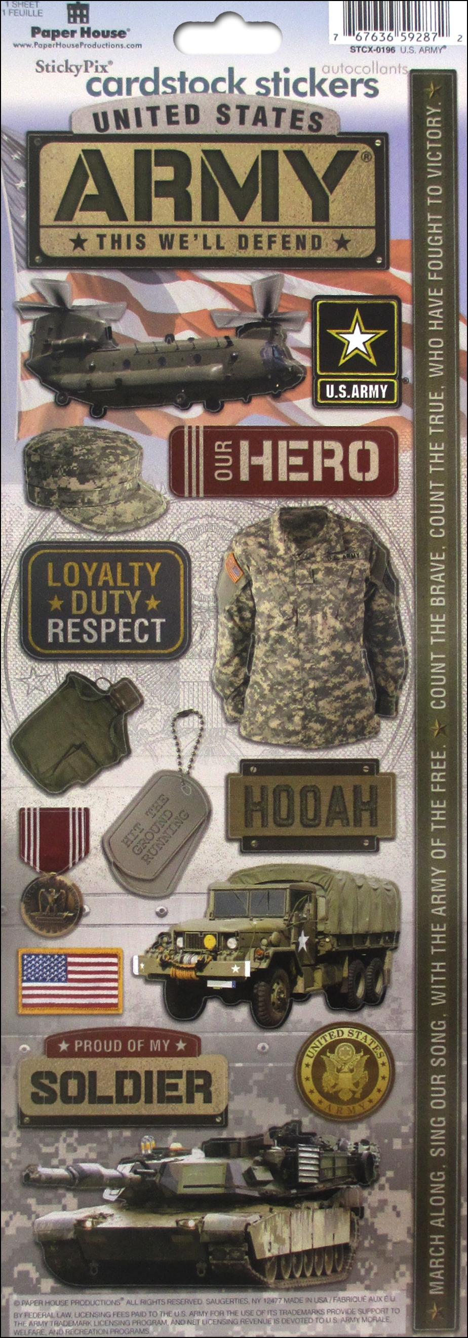 Military Family Dog Tags Camo Hero On The Move Paper House Cardstock Sticker